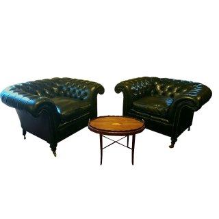 Chesterfield Sessel Ausstellungsstück antikgrün Herrenzimmer Leder extrabreit orpulent Paar fertigen