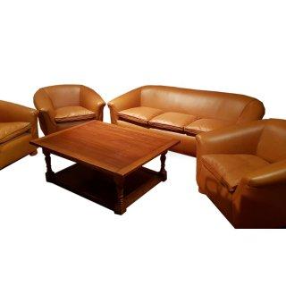 Original Leder Sitzgruppe 70er überholt restauriert Whisky cognac