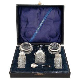 Gewürzset Condimentset Kristallglas Sterlingsilber Schatulle handgeschliffen flintglas Salzschälchen