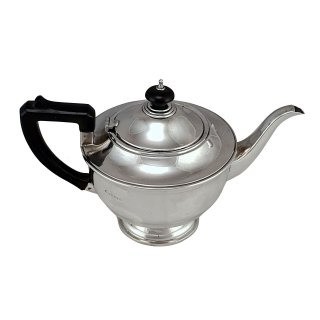 Teekanne Sterlingsilber rund isoliert Birmingham 1934