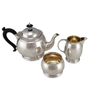 Teeservice Set Teekanne Milchkännchen Zuckerdose Sterlingsilber vergoldet 1939