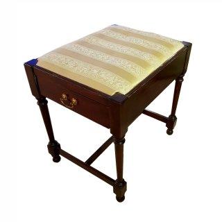 Antik Klavierhocker bezogen Stoff Stones Schublade Mahagoni victorian