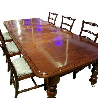 antik Esstisch Konferenztisch Mahagoni victorian Massiv Rollen gedrechselt