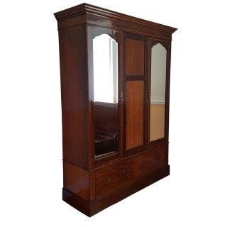 antik Kleiderschrank Mahagoni intarsiert Spiegel Schubladen Kleiderstange