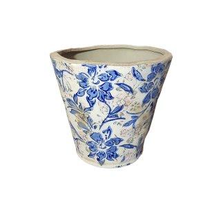 Blumentopf Vintage Vase Pflanzgefäß Keramik Blumen Muster gemustert