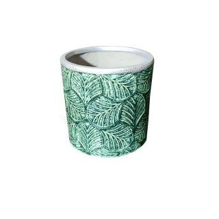 Blumentopf Vase Keramik Pflanzgefäß Silberrand grün Blätter