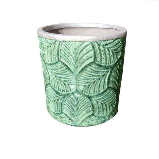 Blumentopf Vase Pflanzgefäß Keramik grün Blätteroptik