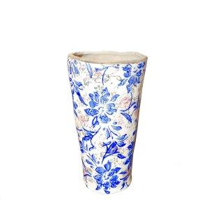 Blumenvase Vase Blumentopf Keramik Vintage Blumenmuster blau