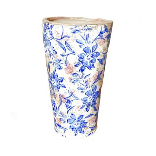 Blumenvase Vase Vintage Keramik Blumen Muster blau
