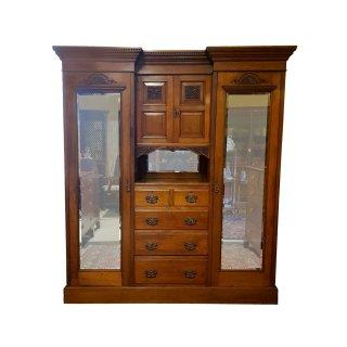 antik viktorian Kleiderschrank Wohnzimmerschrank Garderobenschrank geschnitzt facettiert Spiegel Nussbaum