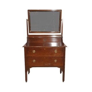 antik Schminkkommode Kommode Dressing Table Mahagoni facettiert Spiegel Schubladen Schnitzereien