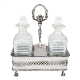Karaffen Kristall Kristallglas handgeschliffen Menage Silber plated
