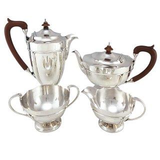 antik Teeservice Kaffeeservice Teekanne Kaffeekanne Zuckerdose Milchkännchen Sterlingsilber Birmingham