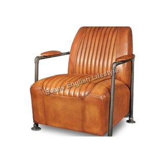 Sessel Sofa Sitzgruppe Industrielook Leder Stoff fertigen beziehen Sonderanfertigung Armlehnstuhl Malcom