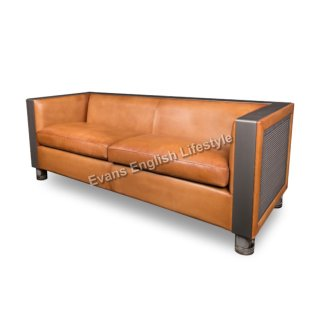 Sofa Sitzgruppe Industrielook Leder Stoff Metall Sonderanfertigung fertigen beziehen polstern Roger